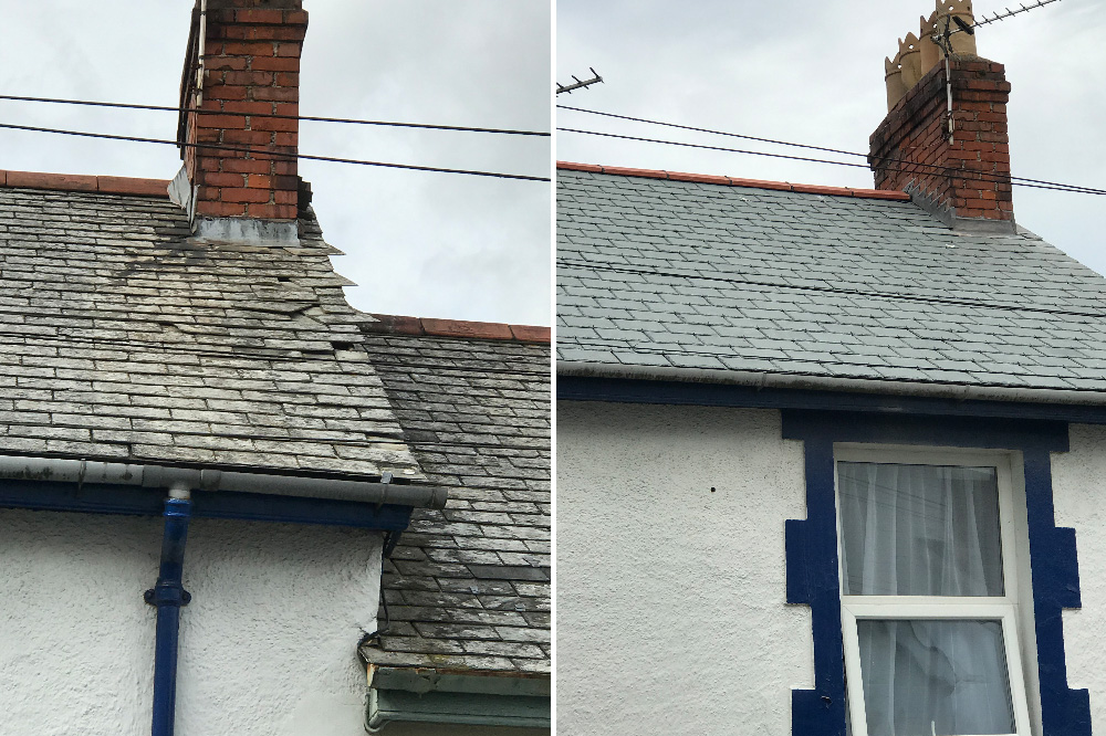 Before & After - New slate roof in Bideford