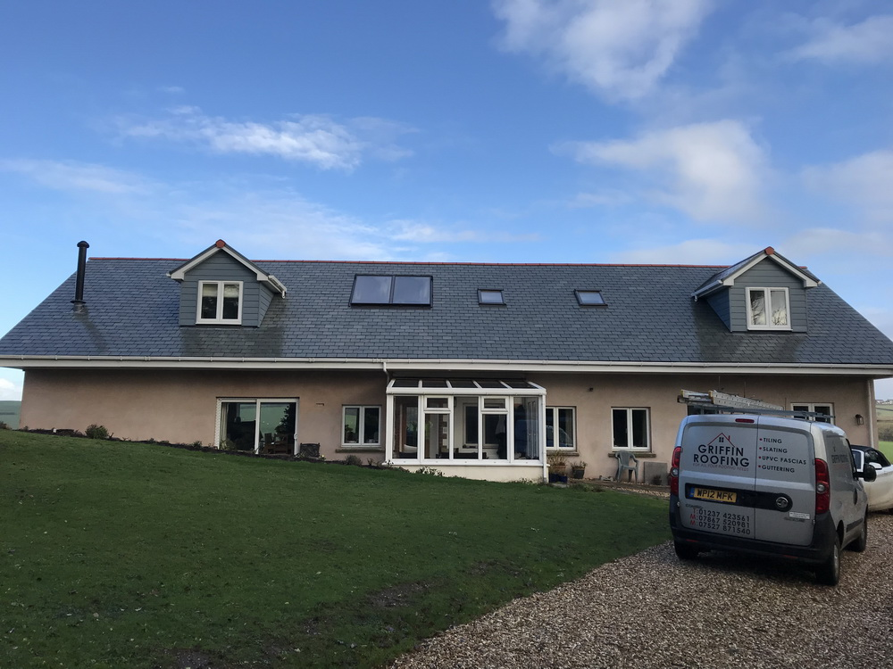 New Slate roof in Abbotsham, Bideford, North Devon